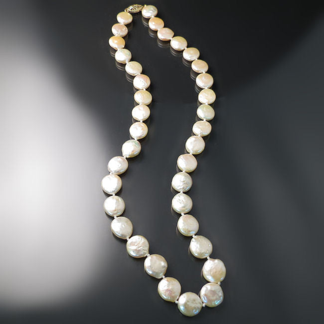 Peach Coin Pearl Necklace