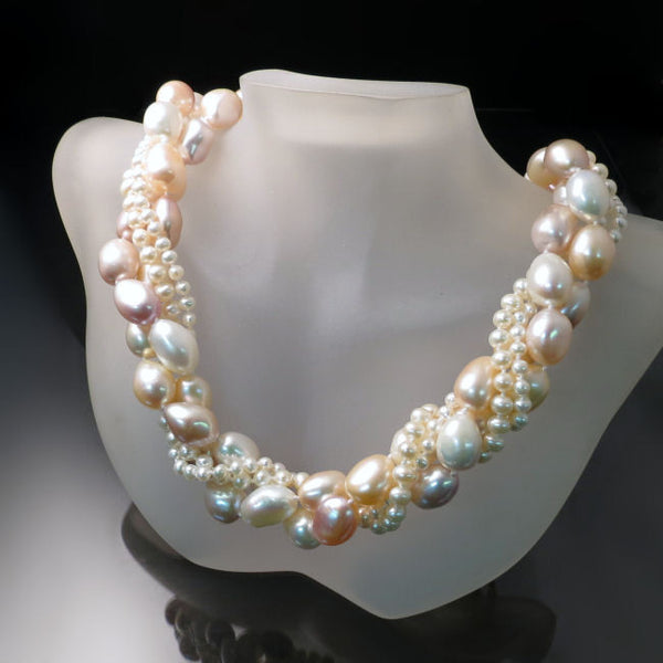 Multi Strand Pearl Necklace With Peach Ivory Pearls