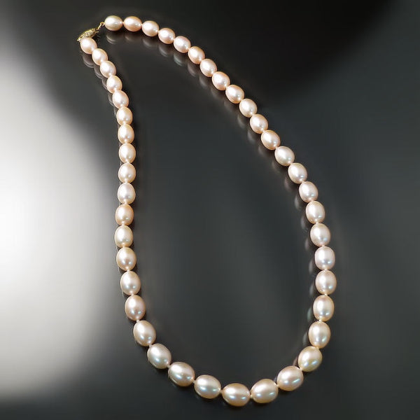 Peach Pearl Necklace: Peachy Pink Pearls Necklace