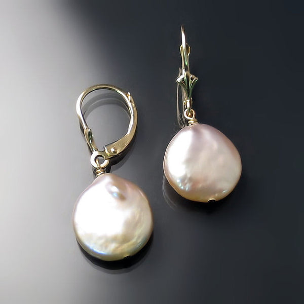 Pearl Earrings Peachy Pink Gold