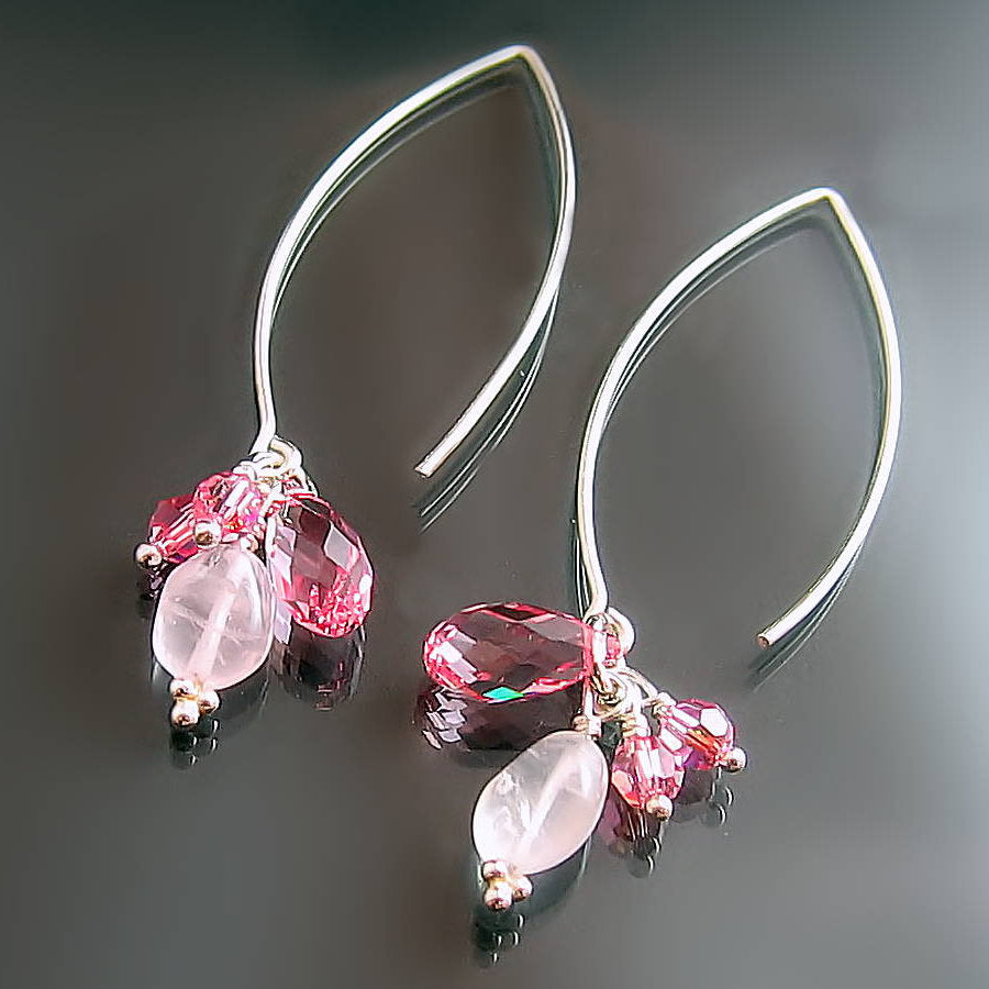 rose quartz and pink swarovski crystal sterling silver dangle earrings with long hook