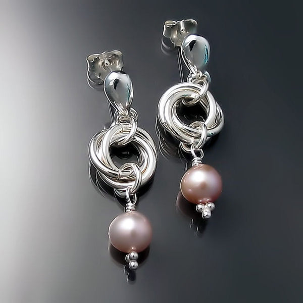 pink pearl earrings sterling silver jewelry