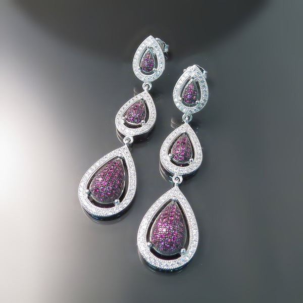 Cubic Zirconia Jewelry: Long ruby red CZ earrings