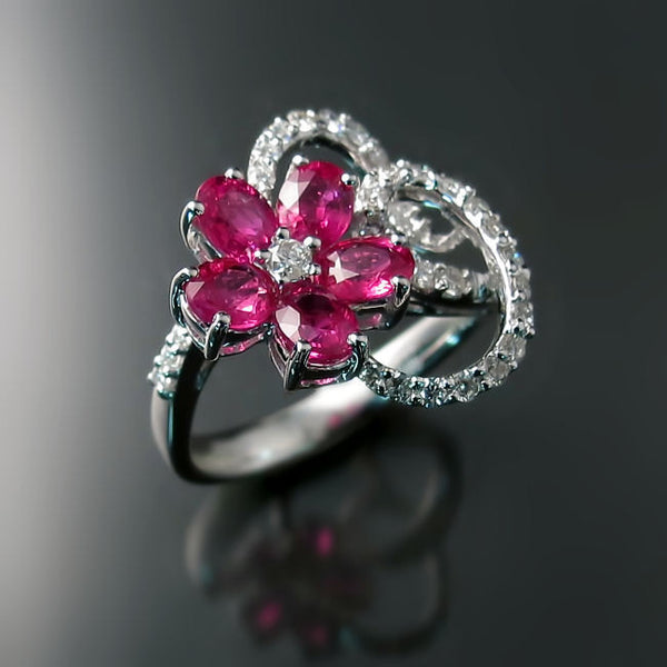 Ruby Flower Ring with Diamonds