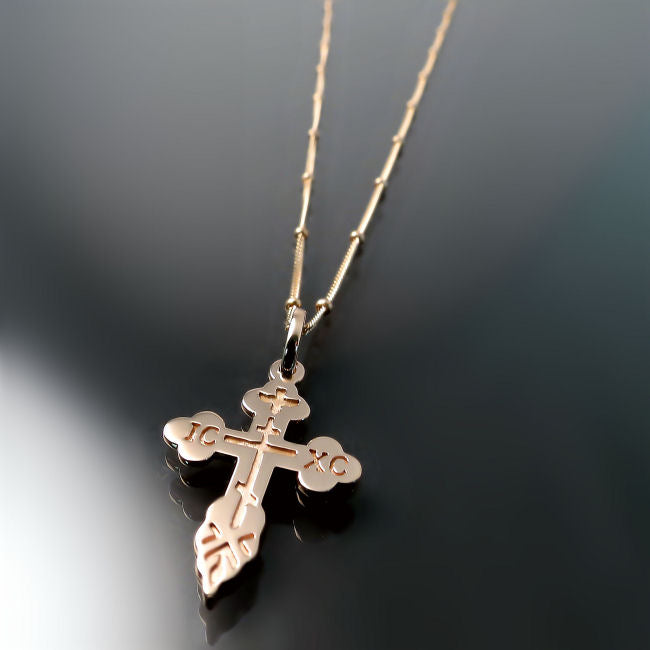 rose gold baptismal orthodox cross