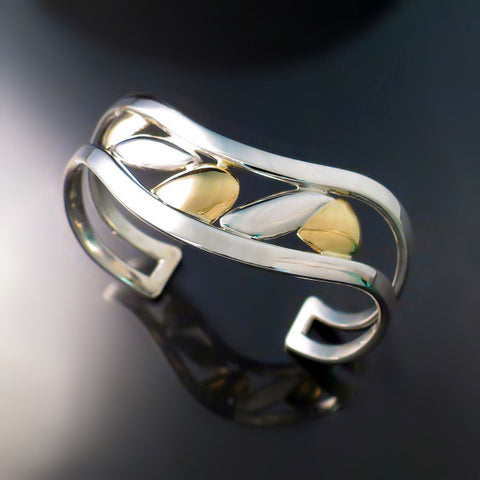 Statement Bracelet Cuff Silver Gold Two Tone Modern Design