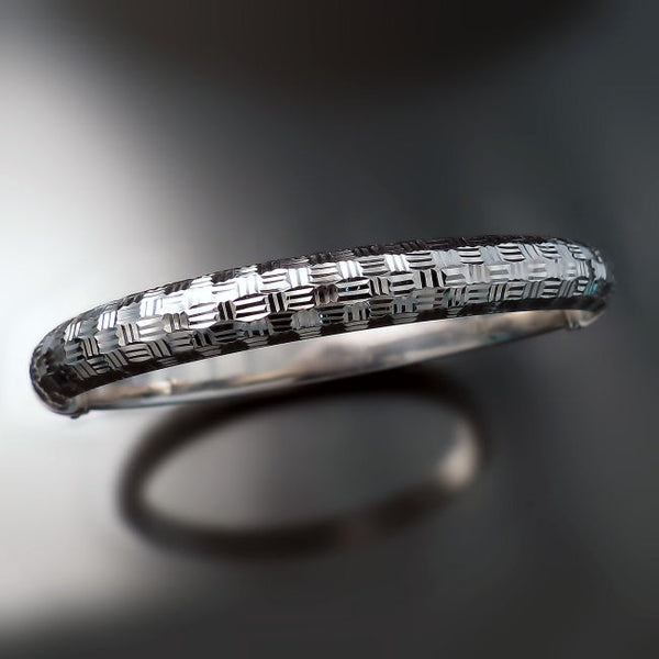 silver jewelry diamond cut bangle bracelet