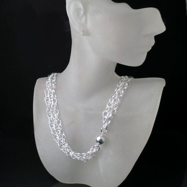 silver jewelry unique modern necklace