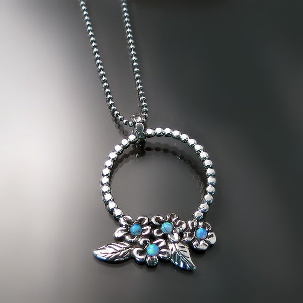 Opal Jewelry: Opal flower necklace handmade in silver