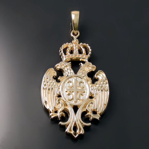 Serbian Crest Pendant Two Headed Eagle Coat Of Arms