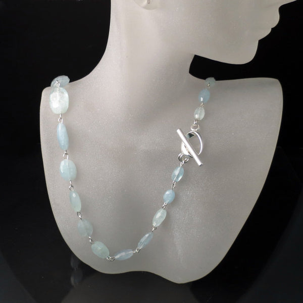 sterling silver artisan jewelry long light blue aqua necklace
