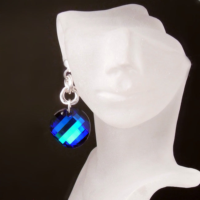 Blue Crystal Statement Earrings - Big Sparkly Crystal Jewelry
