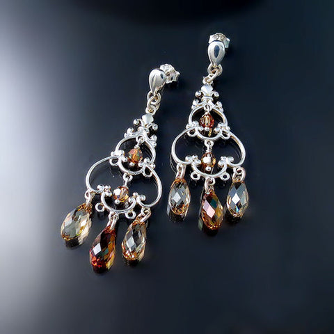 Champagne Crystal Chandelier Earrings - Swarovski Crystal Jewelry
