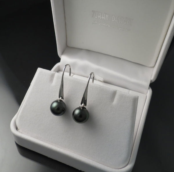 Tahitian Pearl Earrings White Gold