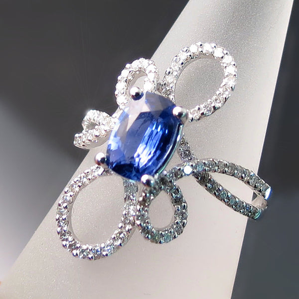 Anitque cushion cut Tanzanite ring with diamonds - Tanzanite Jewelry