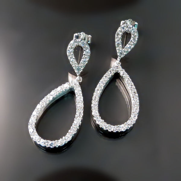 Cubic Zirconia Teardrop Earrings - CZ Bridal Jewelry