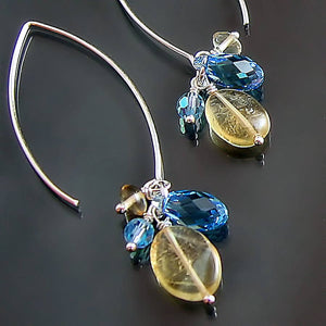 yellow topaz and turquoise blue swarovski crystal sterling silver dangle earrings with long hook