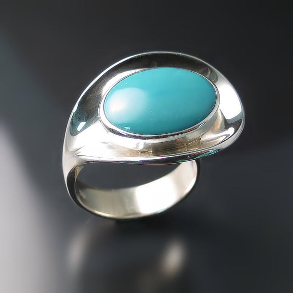 Tuquoise Statement Ring Sterling Silver