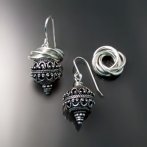 antique vintage bali earrings sterling silver jewelry