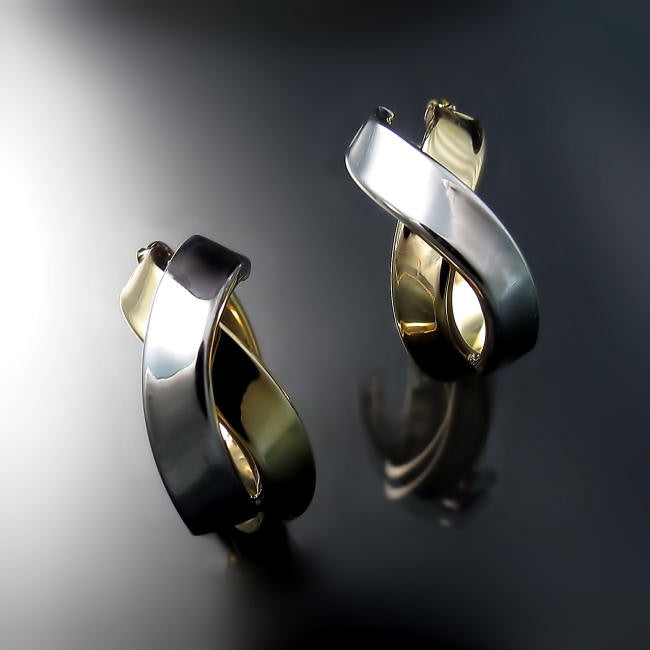 two tone gold hoops