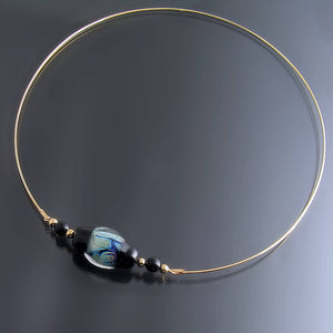 Unique Yellow Gold Collar Necklace with Artisan Glass