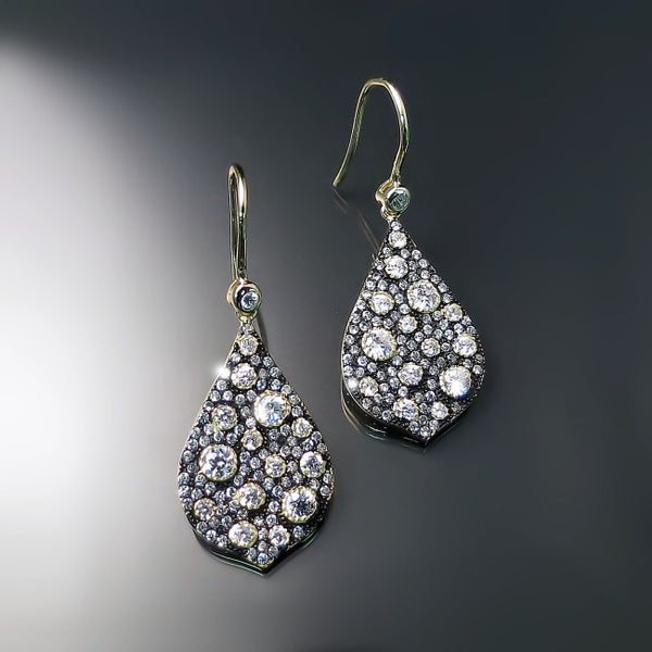 pave encrusted earrings in gold