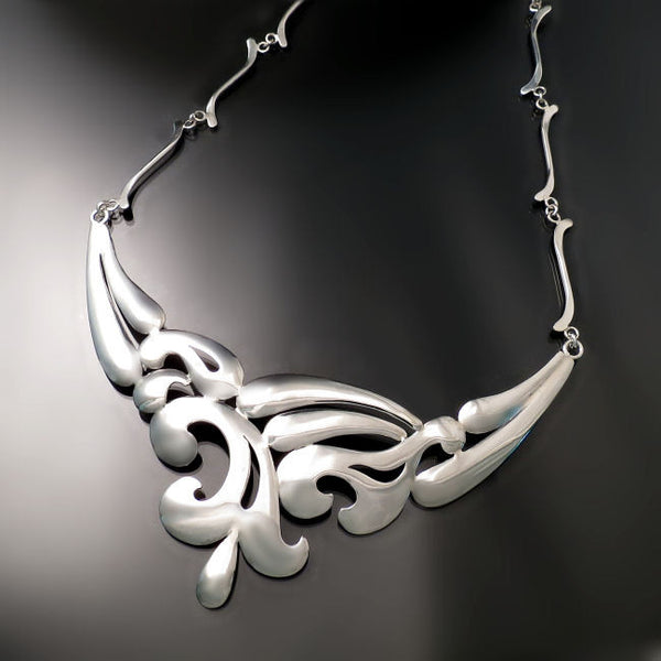 Unique silver statement necklace