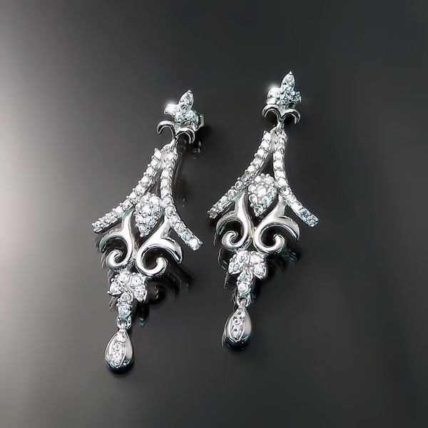 vintage wedding earrings CZ bridal jewelry for bride