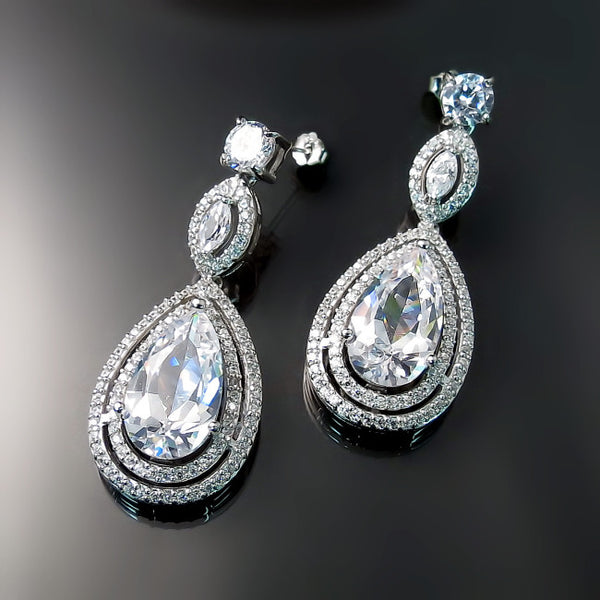 Wedding Jewelry CZ Bridal Earrings for Bride