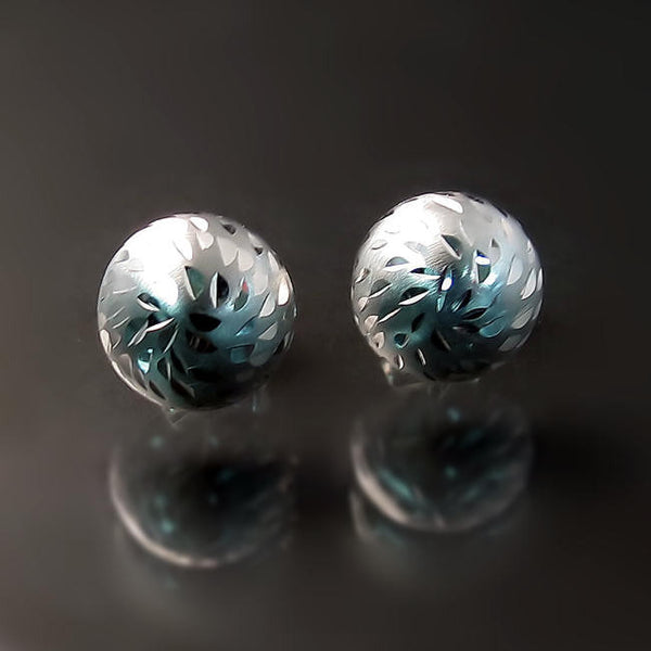 white gold button stud earrings