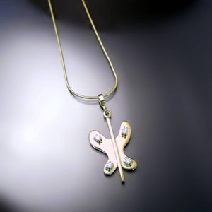 Yellow Gold Butterfly Necklace with Diamonds