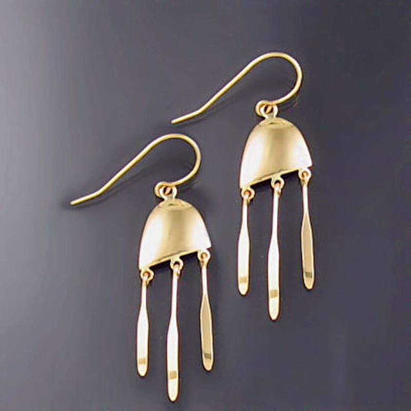 Yellow Gold Jellyfish Inspired Earrings