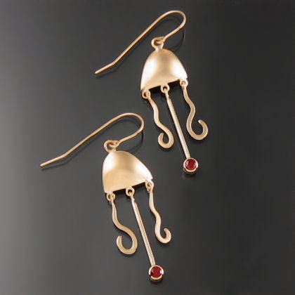 Yellow Gold and Ruby Jellyfish Earrings