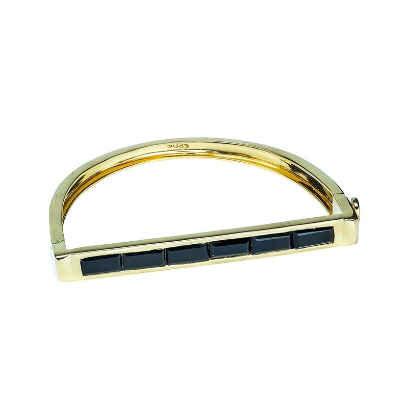 Brass Bangle w/Gold Plate and Black Onyx (ESI411843-BOX)