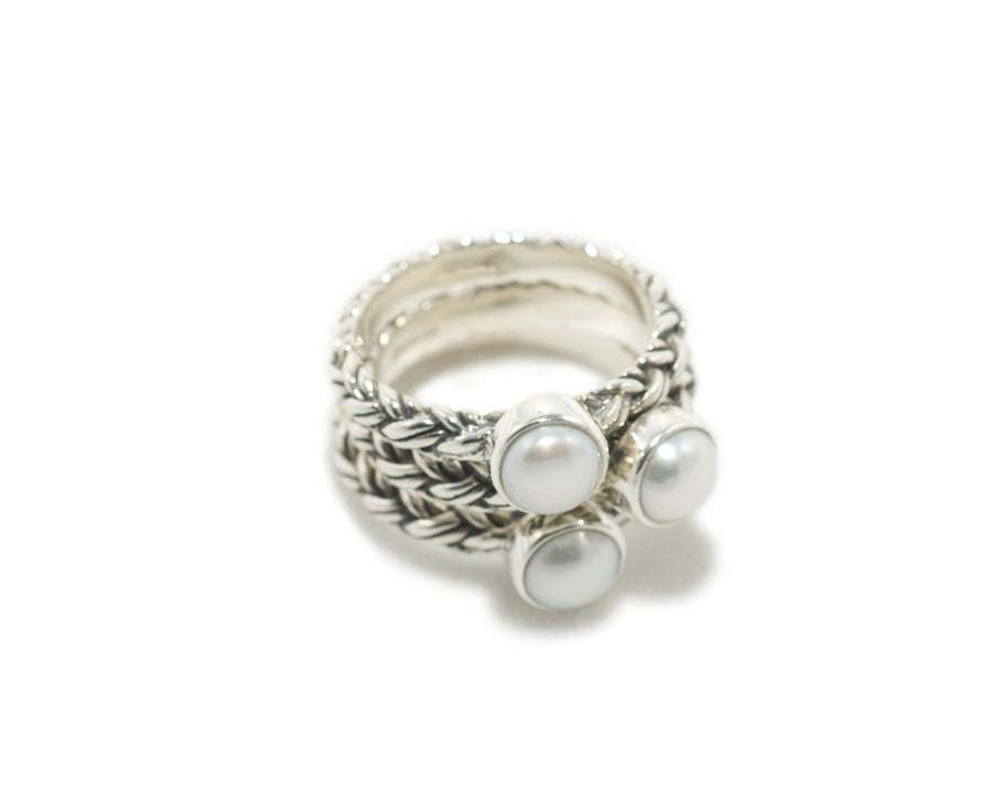 Sterling Silver White Pearl Stack Rings (1121WP)