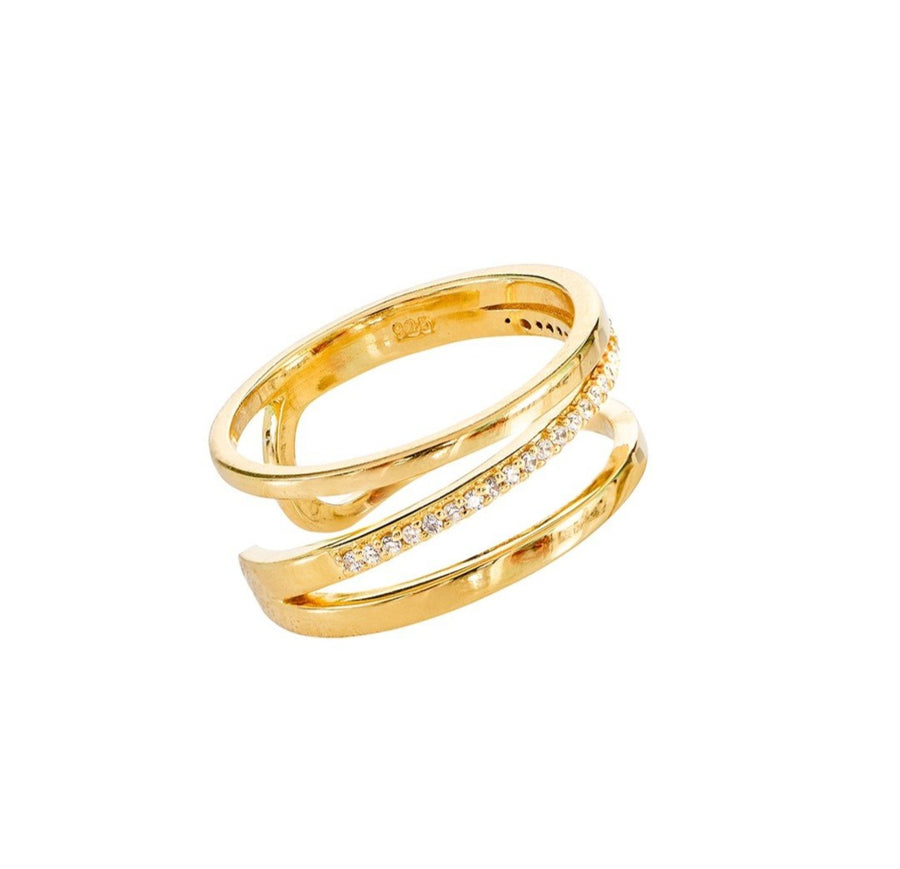 Gold Plate w/White CZ Ring (ESI215322)