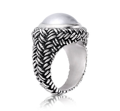 Sterling Silver White Mabe Pearl Weave Ring (1126WMP)