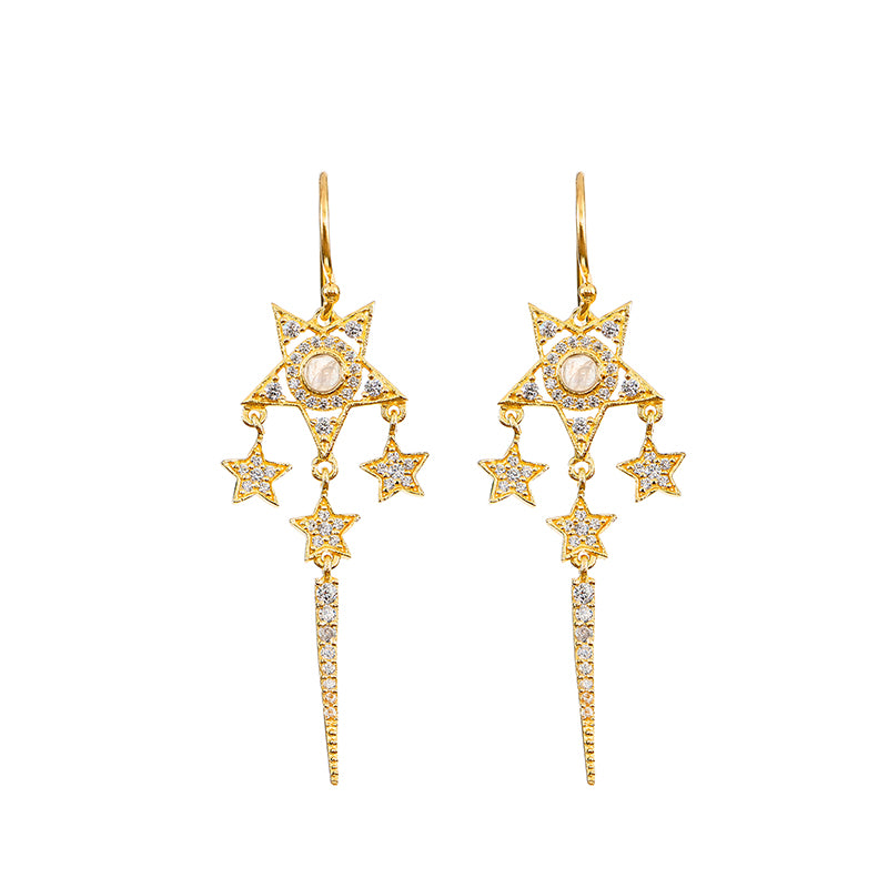 Gold Plated Rainbow Moonstone & White CZ Earrings (ESI117080)