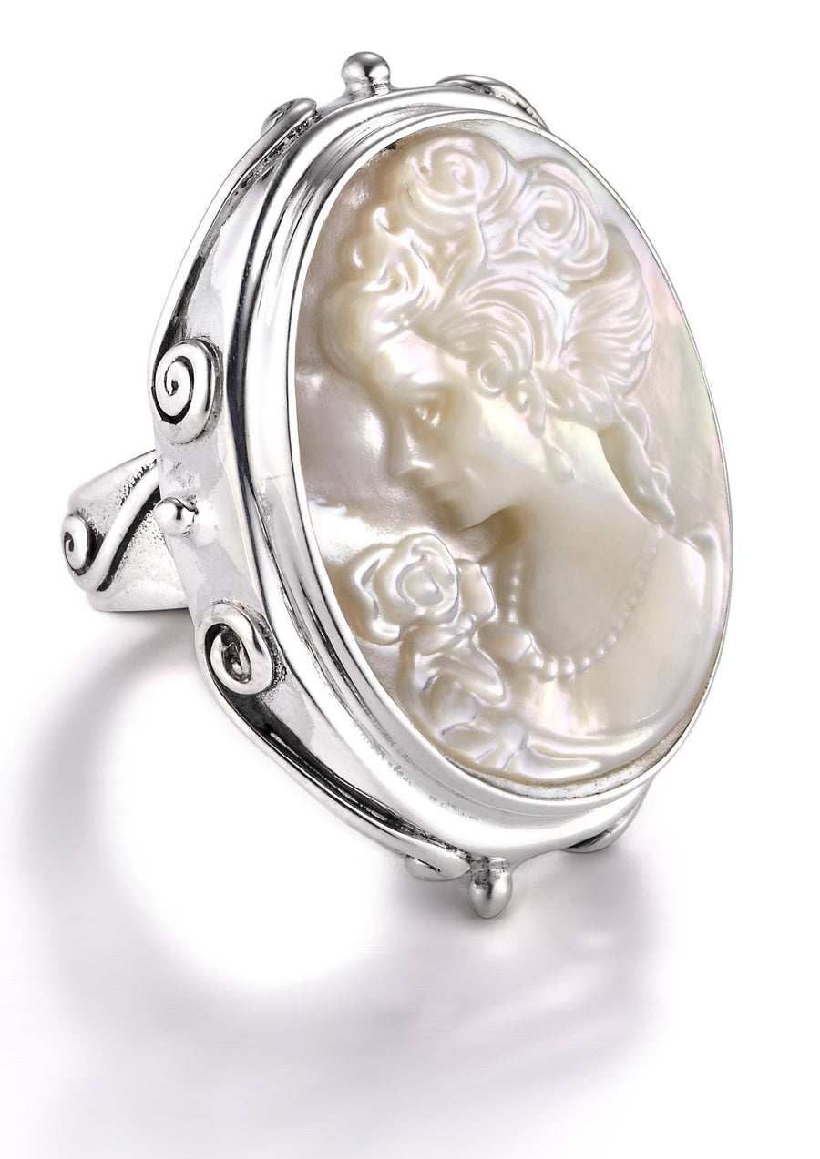 Sterling Silver Cameo Ring (1137MOP)