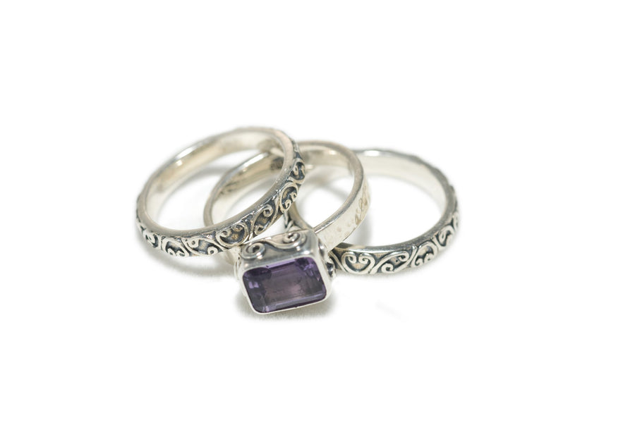 Sterling Silver Trio Stack Signature Lace Ring (1198AM)
