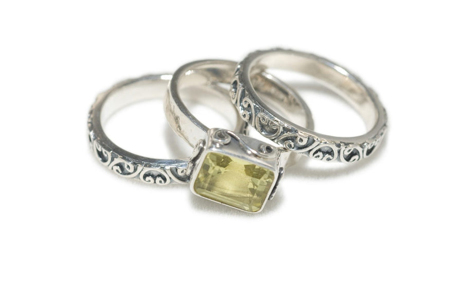 Sterling Silver Trio Stack Signature Lace Ring (1198LC)