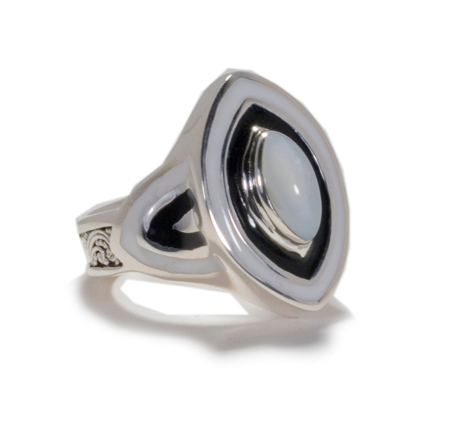 Sterling Silver White Mother of Pearl Oval with Resin Ring (1216WMOP)
