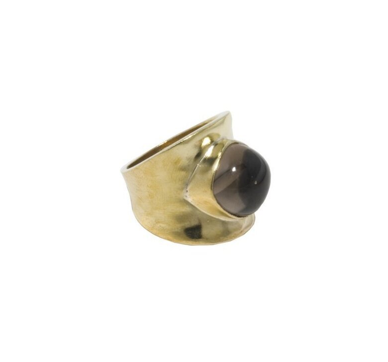 Brass w/Smoky Quartz Hammered Ring (1259BZ-ST)