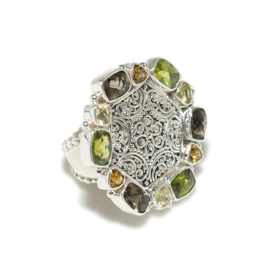 Sterling Silver Multi-Stone Ring (1267PD)