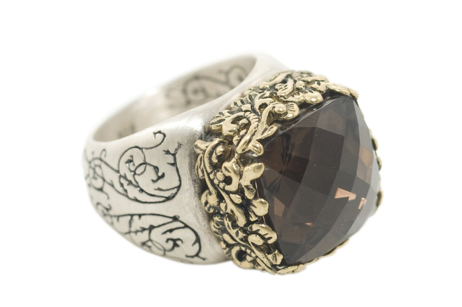 Sterling Silver w/Bronze 14mm Golden Flower Ring (1279SS/BZ-ST)