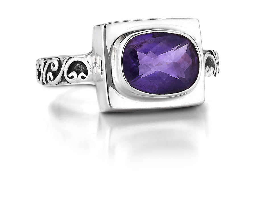 Sterling Silver Amethyst Ring (132AM)