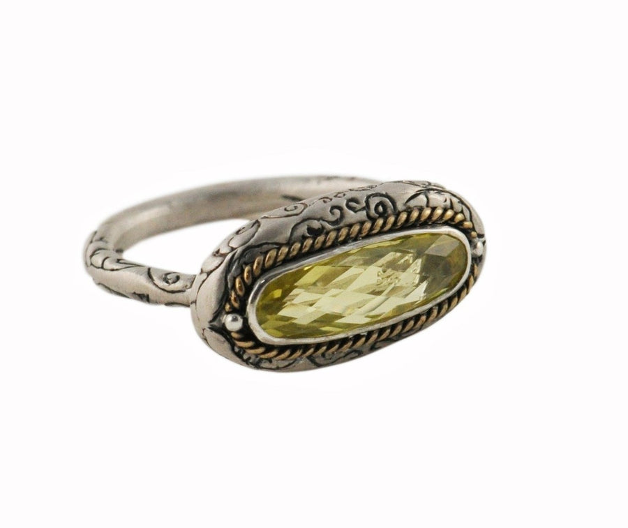 Sterling Silver w/Bronze Golden Flower Horizontal Ring (1702SS/BZ-LC)