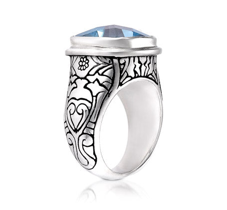 Sterling Silver 14mm Cushion Ring (1720BT)