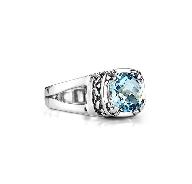 Sterling Silver Blue Topaz Crown Jewels Ring (1900BT)