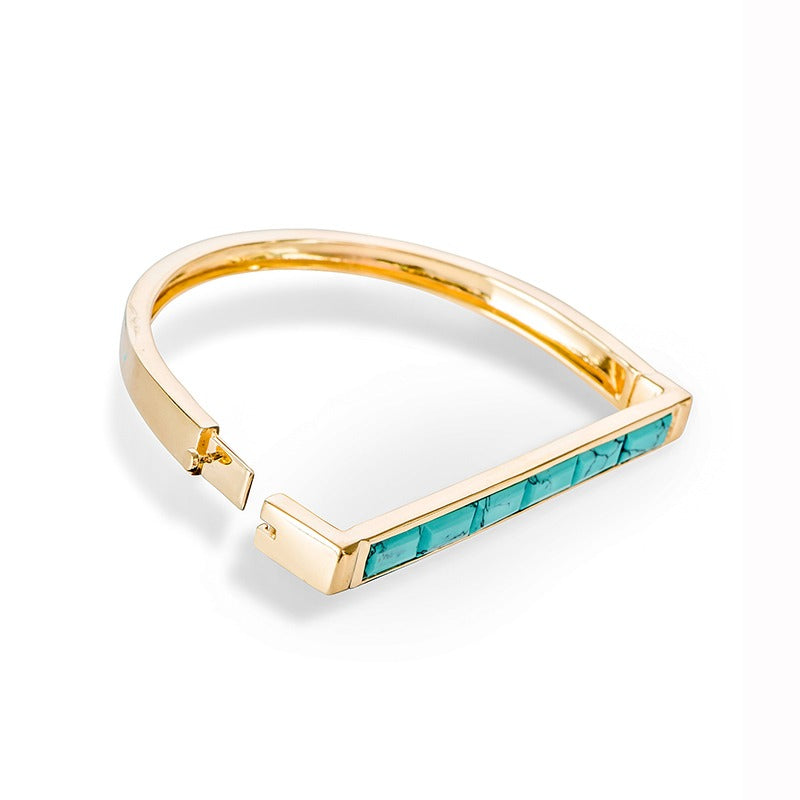 Brass Bangle w/Gold Plate and Turquoise (ESI411843-TQ)
